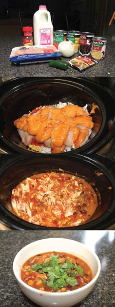 Crock Pot Chicken Enchilada Soup. You can use all fresh items instead of in the can, less sodium.