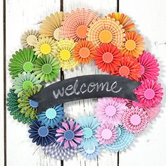 adorable summer wreath with paper pinwheels
