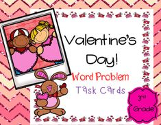 Valentine's Day Word Problem Task Cards for third grade. 20 task cards common core aligned with a Valentine's Day theme. All task cards are in color. A student recording sheet and answer key are included.Common Core Standards used: 3.OA.3, 3.NBT.2, 3.NBT.3, 3.MD.7, 3.MD.1, and 3.NF.1The main focus is one step word problems with an emphasis on multiplication and adding and subtracting within 1000.Earn TPT credit by leaving feedback.