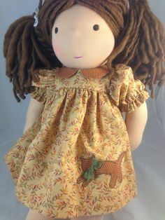Autumn Waldorf Doll Dress with Kitty Applique by mybonbonboutique, $25.00