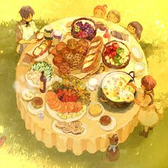 「大きなパンのある食卓」/「pon-marsh」のイラスト [pixiv]