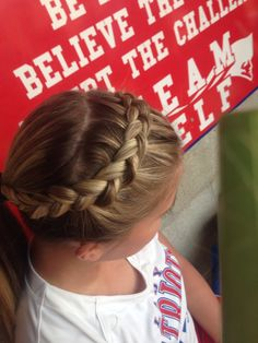 Sport Hairstyles Gymnastics Cheer Hair 15 Ideas # cute Braids for softball # cut… Athletic Hairstyles, Volleyball Hairstyles, Sporty Hairstyles, Braided Hairstyles, Cheer Hairstyles, School Hairstyles, Braided Ponytail, Gymnastics Hair, Sport Hair