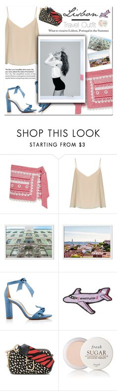 """""""How to Style a Red and White Eyelet Skirt with a Nude Camisole and Blue Heels for Summer Travel to Lisbon, Portugal"""" by outfitsfortravel ❤ liked on Polyvore featuring Dodo Bar Or, Raey, Alexandre Birman, JULIANNE, Stoney Clover Lane, Marc Jacobs and Fresh"""