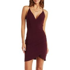 Charlotte Russe Dark Purple Plunging Strappy Caged Back Asymmetrical... ($29) ❤ liked on Polyvore featuring dresses, dark purple, bodycon mini dress, dark purple cocktail dress, short purple dresses, v neck bodycon dress and charlotte russe dresses