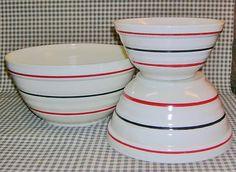 Hocking Vitrock Mixing Bowl Set Red Black Stripes Stripe Bowls Fire King | eBay