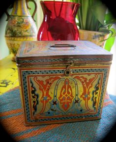 Reduced Ornate Printed Uneeda Vintage Biscuit Tin Orange BlueGrey Gold Black Deco Tin Handled Latched Renaissance  Victorian French Tinware