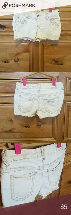 Distressed short shorts Distressed short stretchy shorts - from my thinner days 😔 I Loved these! Shorts Skorts