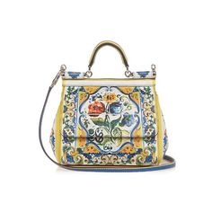Dolce & Gabbana Sicily Majolica-print small leather cross-body bag (€1.765) ❤ liked on Polyvore featuring bags, handbags, shoulder bags, white multi, white leather purse, white leather shoulder bag, white leather handbags, white shoulder bag and crossbody handbags