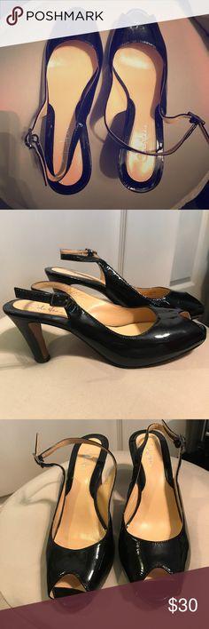 Cole Hann Peep Toe Patent Black Heels Cole Hann Black Patent Peep Toe Heels. Worn just a handful of times. Size 5B. 3 inch heel Cole Haan Shoes Heels