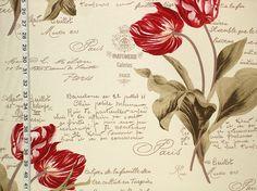 French script fabric tulips Paris- 1 1/2 yds from Brick House Fabrics