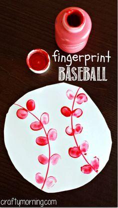 Fingerprint Baseball Craft for Kids - Great summer art project to make! | CraftyMorning.com