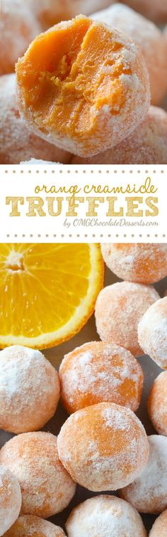 White Chocolate Orange Creamsicle Truffles perfectly fit for summer- a tasty no bake dessert which simply melts in your mouth. Candy Recipes, Sweet Recipes, Cookie Recipes, Dessert Recipes, Cook Desserts, Coctails Recipes, Mini Desserts, Health Desserts, Summer Desserts
