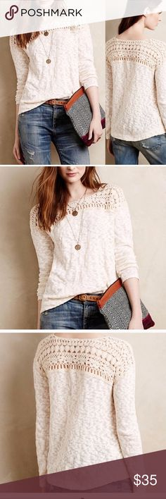 """Anthropologie Meadow Rue Kellen crochet sweater L Be cream of the crop this spring and summer in this gorgeous Anthropologie Meadow Rue Kellen Crochet Pullover. Lace Crochet Yoke front and back - Scoop Neckline - Slub 100% Cotton Sweater Pullover - Color: Natural Cream - So cute over a dress or with jeans or jean shorts! Excellent condition w/ no stains, pulls or odors! ! Does run a bit Tag is detached on one side. Size Large. Approx flat lay measurements: Pit to Pit 19"""", Length 21""""…"""