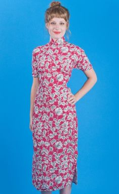 GINGKO PRINT Vtg 30s 40s Fuchsia Cheongsam Pin-Up Dress XS/S