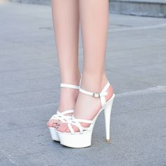 29 Ankle Shoes To Rock This Summer - Shoes Fashion & Latest Trends Platform High Heels, Black High Heels, High Heels Stilettos, Stiletto Heels, Shoes Heels, Heeled Sandals, Ankle Shoes, Prom Heels, Sexy Heels