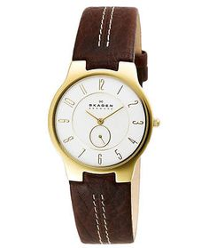 NEW Skagen Casual Gold Steel Men's Watch  Dark Brown Leather Bracelet  433LGL1