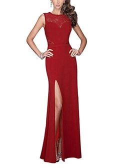 6c9d1af959c9 Red Evening Wedding Bodycon Cocktail Party Dress Split Floral Lace Long  Custom  affilink
