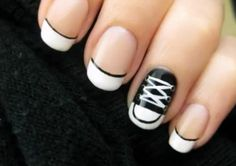 Do you want to see black and white nail art designs then have a look at the new and Easy Black And White Nail Designs For Short Nails. How To Do Nails, Fun Nails, Pretty Nails, Converse Nail Art, Converse Style, Converse Shoes, Black Converse, Converse Design, Cheap Converse