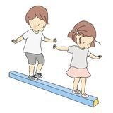Vector illustration of little kids, boy and girl, playing balance beam. Early childhood development activity, education and learn. Ing concept royalty free illustration