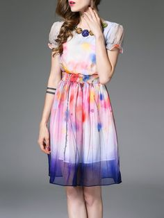 Multicolor A-line Polyester Sweet Mini Dress