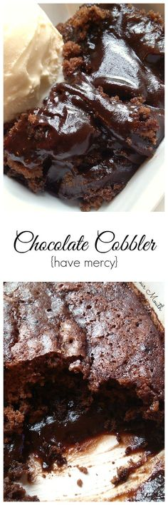 Chocolate Cobbler with a warm, ooey gooey chocolate fudge sauce that is created as the cobbler bakes. So easy!
