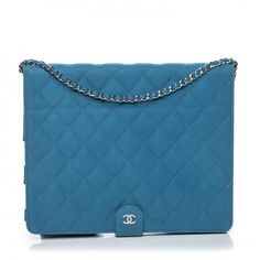 015dc51318b2 This is an authentic CHANEL Iridescent Caviar Quilted Crossbody iPad Holder  in Blue. This chic