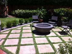 Outdoor Fire Pit with Concrete/Grass Pavers - Modern - Patio - Orange County - by California Landscape Construction Grass Pavers, Outdoor Pavers, No Grass Backyard, Backyard Patio Designs, Fire Pit Backyard, Outdoor Fire, Backyard Landscaping, Concrete Pavers, Backyard Projects