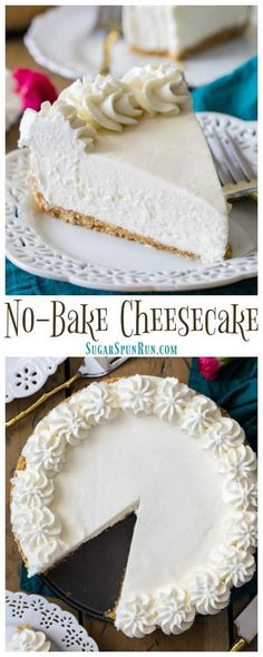 How to make the BEST no bake cheesecake, completely from scratch! Super easy to make and taste just as good as a traditional cheesecake, everyone wanted the recipe for this one! How to make the BEST no bake cheesecake, completely from scratch! Best No Bake Cheesecake, Baked Cheesecake Recipe, Cheesecake Desserts, Köstliche Desserts, Delicious Desserts, Dessert Recipes, Whipped Cream Cheesecake, Cheesecake Frosting, Cheesecake Tarts