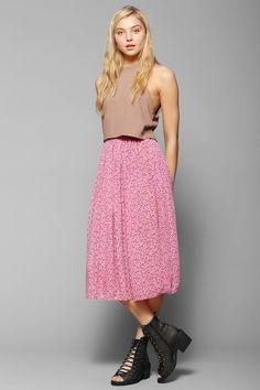 Urban Renewal Neon Blossom Midi Skirt - Urban Outfitters