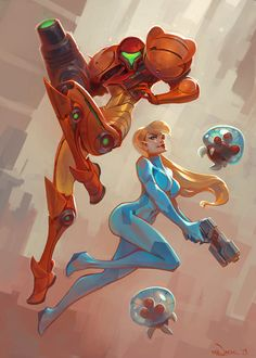 Some Metroid fan-art done for Project KKG, a fan-art book being put together to help out a co-worker and great friend who's battling with cancer;more info can be found here - Gamers for Good.