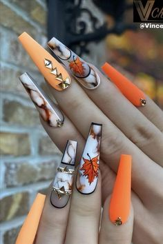 Fabulous Nails, Perfect Nails, Gorgeous Nails, Love Nails, Accent Nail Designs, Fall Nail Designs, Nail Swag, Summer Nails Neon, Neon Orange Nails