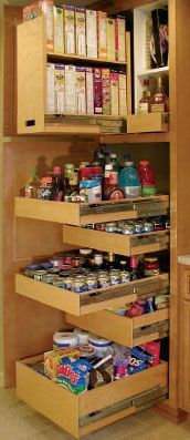 "another pinner said: ""I love the cereal ones! My Mom's house has these, and it makes it so much easier to get to everything with deep shelves."""