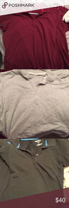 7 Old Navy Polos Bundle!!! Navy, grey and maroon Polos. never worn Old Navy Tops Button Down Shirts