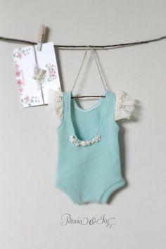Newborn Country Green Romper baby girl bodysuit by PetuniaandIvy