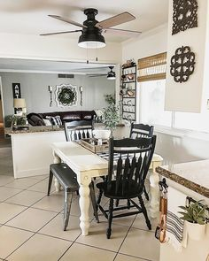 graceful farmhouse dining room design ideas that looks cool 19 Ceiling Fan In Kitchen, Ceiling Fans, Small Dining, Dining Room Design, Looks Cool, Country Kitchen, Kitchen Decor, Kitchen Ideas, Diy Kitchen
