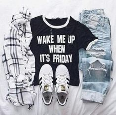 adidas tee and flannel, Adidas outfit ideas http://www.justtrendygirls.com/adidas-outfit-ideas/