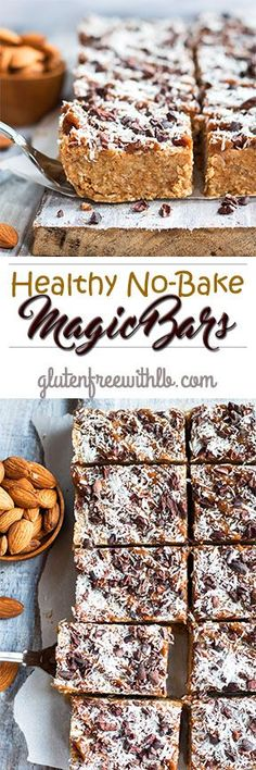 Healthy No-Bake Magic Bars | A healthy, gluten free and vegan snack or dessert recipe that is full of nuts, coconut and cacao nibs.