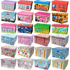 Large Kids Children Toy Storage Box Lid Seat Folding Stool Chest Clothes Laundry