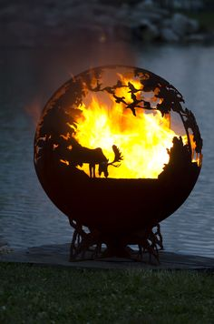 Up North Custom Steel Outdoor Fire Pit - Minnesota Themed Sphere Artistic Fire Ball - The Fire Pit Gallery Wood Burning Fire Pit, Concrete Fire Pits, Diy Fire Pit, Fire Pit Backyard, Small Fire Pit, Modern Fire Pit, Fire Pit Sphere, Minnesota, Fire Pit Video
