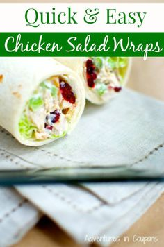 Is it lunch time yet? If so, head over and grab this awesome recipe! These Quick & Easy Chicken Salad wraps are perfect for a quick lunch or even a light dinner!