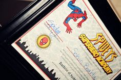 "BACHELOR OF SPIDER SCIENCE, with ""Marvel-ous honors"" (for having honed all their spider senses) in a mock graduation ceremony from Spidey's Superhero School. themarriedapp.com hearted <3"