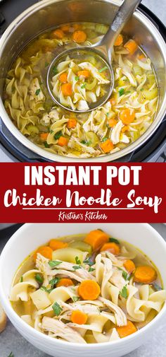 This easy recipe for Instant Pot Chicken Noodle Soup is the best way to make homemade healthy chicken soup from scratch. This delicious soup can be made with fresh or frozen chicken, boneless or bone in, chicken breasts or thighs. Instant Pot Chicken Soup Recipe, Healthy Chicken Soup, Best Instant Pot Recipe, Instant Pot Dinner Recipes, Easy Soup Recipes, Instapot Chicken Soup, Instant Pot Chicken Noodle Soup Recipe, Chicken Breast Instant Pot Recipes, Simple Chicken Noodle Soup