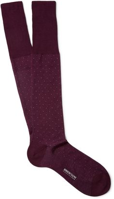 Bresciani Pin-Dot Knee-Length Fine-Cotton Socks