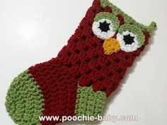 Crochet Owl Christmas Stocking in Red and Green