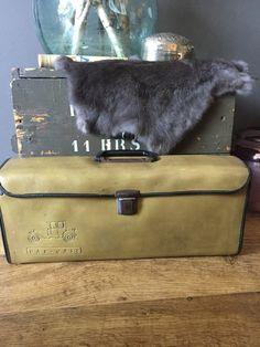 Vintage gereedschapstas, industrial toolbox Toolbox, Suitcase, Vintage, Tool Box, Dopp Kit, Suitcases, Vintage Comics, Primitive