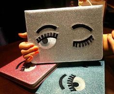 2015 New Cute Bling Glitter Eyes Leather Smart Case Stand Flip Cover for ipad mini 1 2 3 4 Tablet PC Bag Cute Ipad Cases, Ipad Air 2 Cases, Ipad Accessories, Luxury Girl, Cute Cartoon, Ipad Mini, Bling, Iphone, Cover