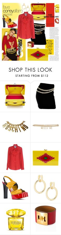 """red & yellow"" by ezgi-g ❤ liked on Polyvore featuring Mark Cross, Moschino, Charlotte Olympia, Vivienne Westwood, Saks Fifth Avenue, Versace, Hermès, Mulberry, yellow and red"