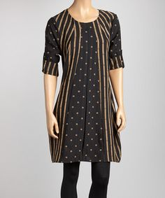 Take a look at this Black & Taupe Stripe Square Tunic by Come N See on #zulily today! my favorite so far