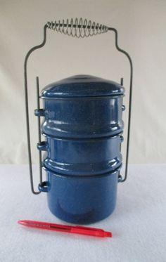 Food Carrier Blue Granite ware Vintage  Used Metal by HobbitHouse