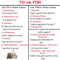 Many English learners have difficulties understanding the difference between TO and FOR in English...